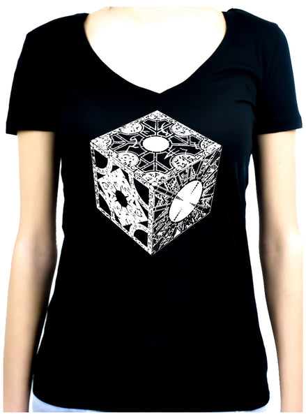 Puzzle Box Women's V-Neck Shirt Top Hellraiser Horror