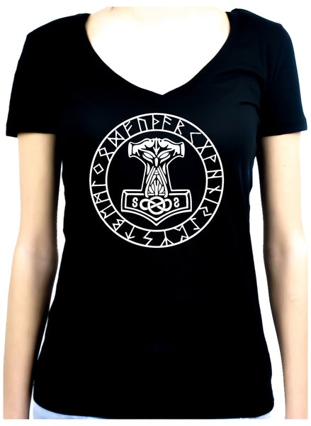 Mjolnir Mighty Thor Hammer Rune Script Women's V-Neck Shirt Viking
