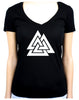 Norse Triangle Knot Women's V-Neck Shirt The Valknut Odin's Slain Warriors