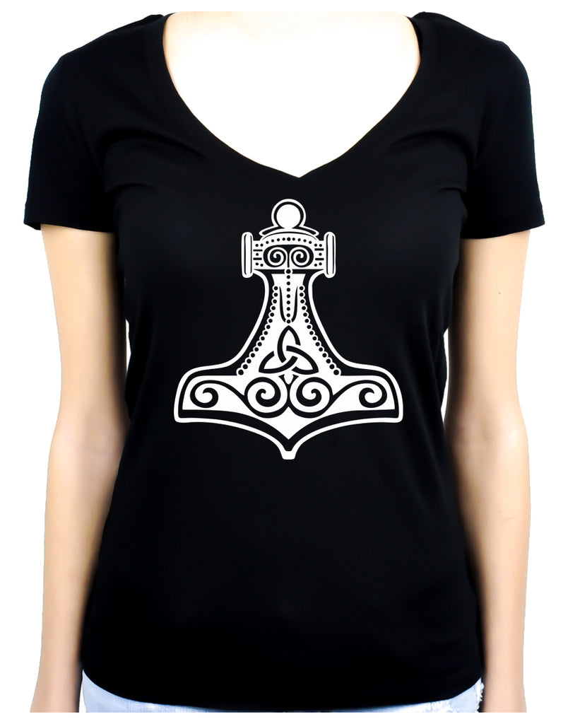 Mjolnir Thor's Hammer Women's V-Neck Shirt Norse Viking God
