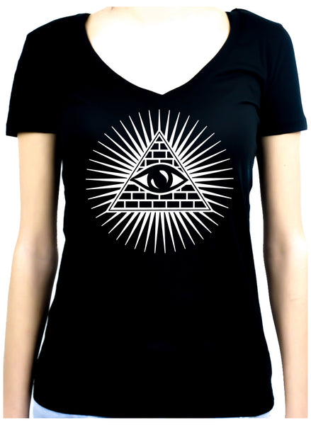 Pyramid w/ All Seeing Women's V-Neck Shirt