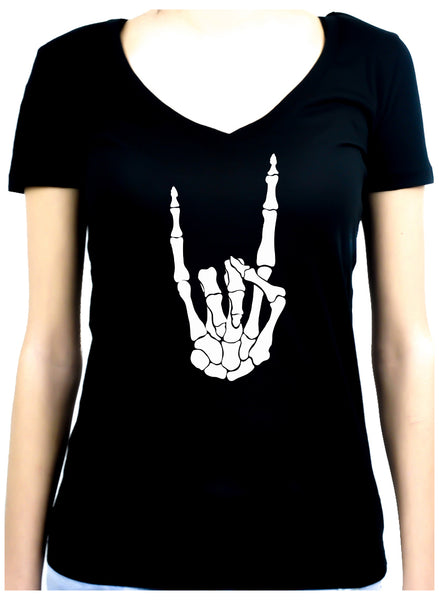 Skeleton Hand Horns Up Metal Women's V-Neck Shirt Gothic Clothing