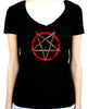 Inverted Pentagram Women's V-Neck Shirt Top Occult Metal Clothing