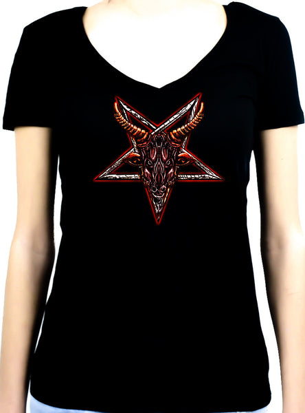 Sigil of Baphomet Goat Head Women's V-Neck Shirt Top Metal Occult
