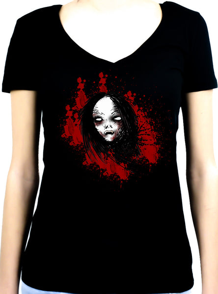 Bloody Vampire Death Bound Women's V-Neck Shirt