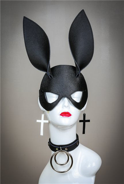 Black Leather Textured Bunny Rabbit Ears Mask Cosplay Fetish