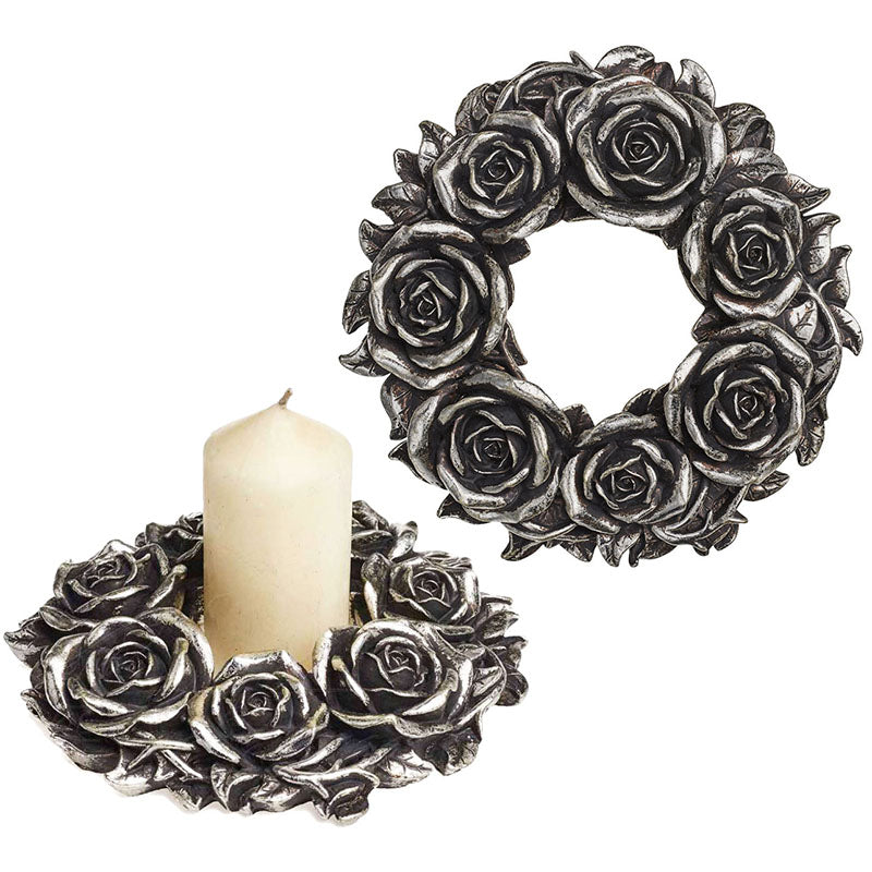 Alchemy Gothic Black Rose Wreath Candle Holder