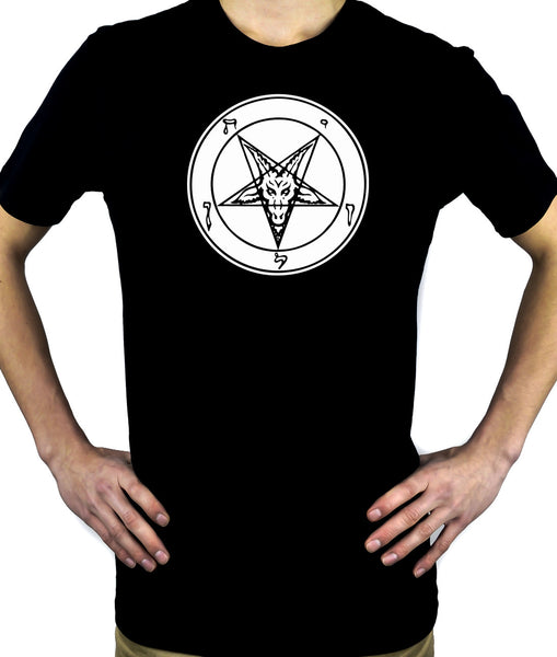 White Classic Satanic Baphomet T-Shirt Occult Clothing