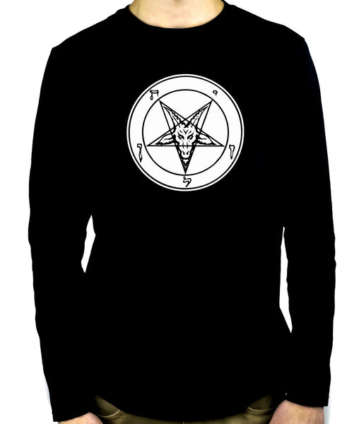 Occult Baphomet Symbol Men's Long Sleeve T-shirt Evil Black Metal Clothes