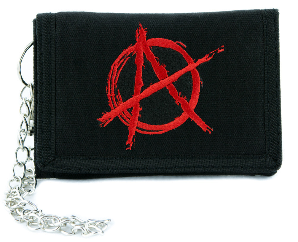 Red Anarchy Sign Tri-fold Wallet Alternative Clothing Punk Rock