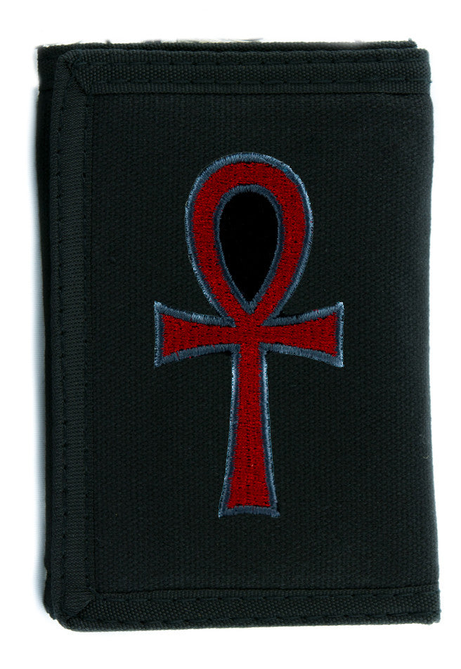 Red Ankh Egyptian Hieroglyph Tri-fold Wallet Goth Clothing Eternal Life Occult Symbol