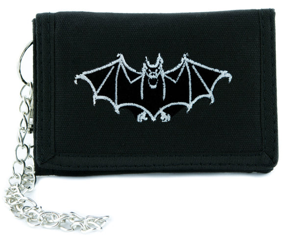 White Vampire Halloween Bat Tri-fold Wallet w/ Chain Occult Clothing