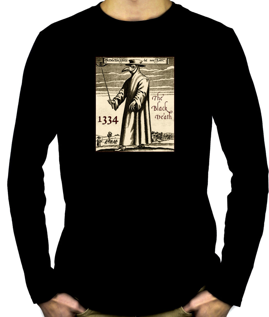 The Black Death Plague Men's Long Sleeve T-Shirt 1334 Grim Reaper Mask