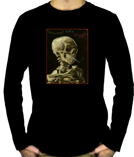 Skeleton Smoking Long Sleeve T-shirt Vincent Van Gogh Painting