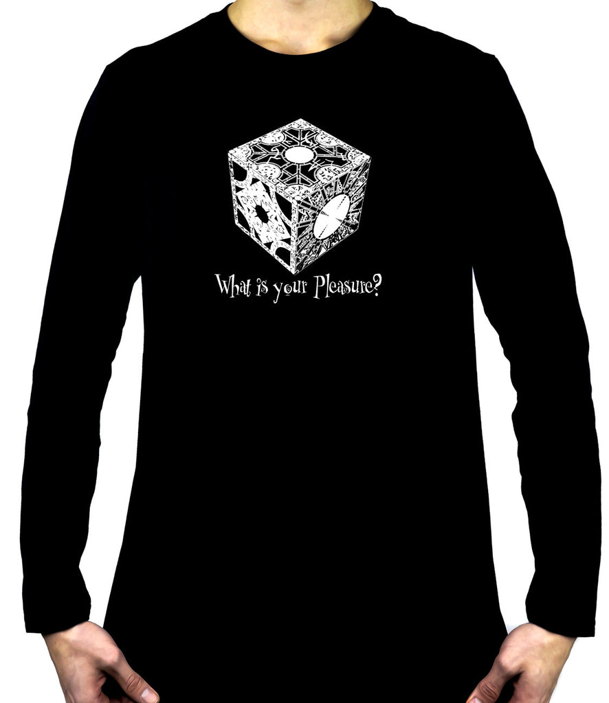 "Puzzle Box ""What is your Pleasure?"" Men's Long Sleeve T-Shirt Hellraiser Pinhead Horror"
