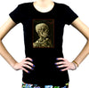 Skeleton Smoking Women's Babydoll T-shirt Vincent Van Gogh Painting