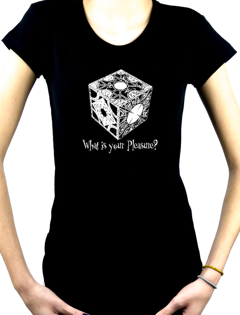 "Puzzle Box ""What is your pleasure?"" Women's Babydoll Shirt Top Hellraiser Pinhead Horror"