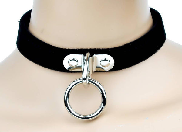 Black Velvet Choker Sexy O Ring Fetish Collar