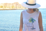 Take Me to Paradise Watercolor Palm Tree Muscle Tank
