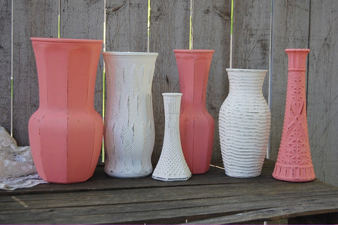 Coral and white painted vases