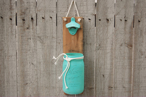 Aqua mason jar bottle opener