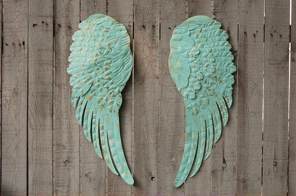 Aqua Wall Decor aqua angel wings wall decor – the vintage artistry