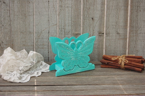 Aqua butterfly napkin holder - The Vintage Artistry