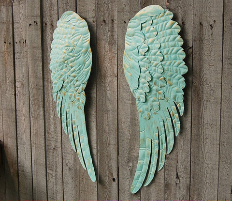 Aqua angel wings wall decor - The Vintage Artistry