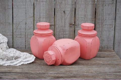 Coral spice or tea jars