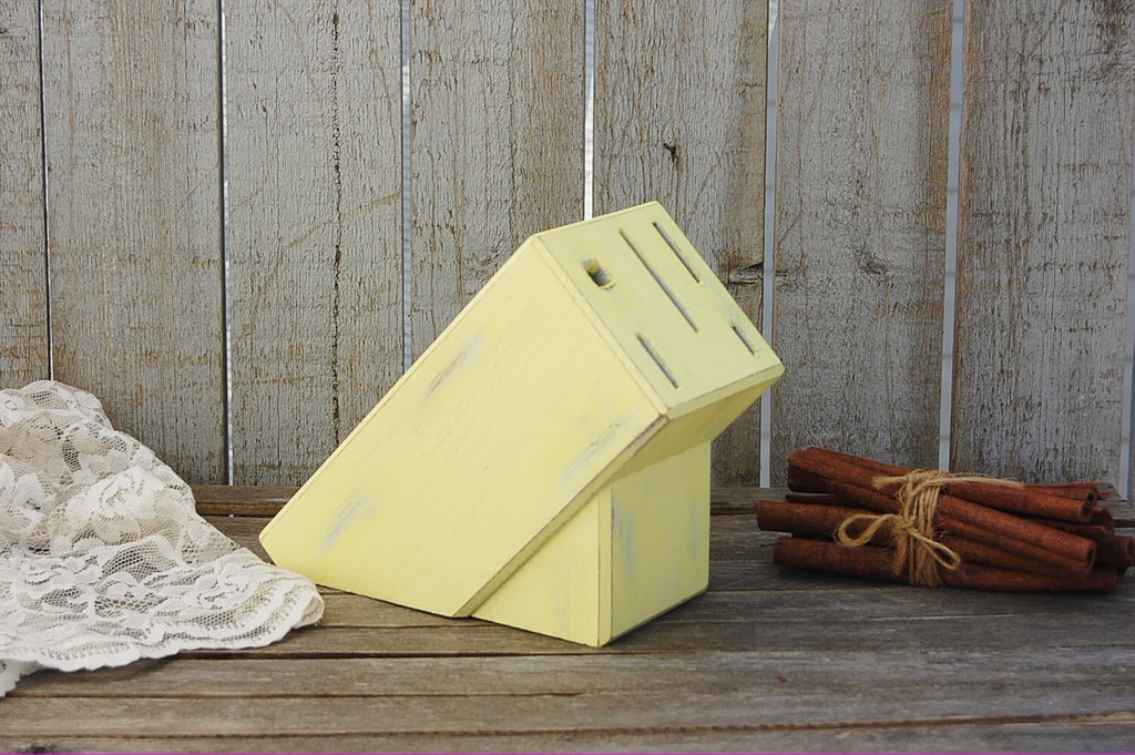 Hand painted yellow knife block - The Vintage Artistry