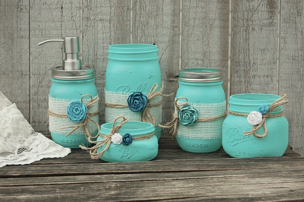 Aqua Mason Jar Bathroom Set The Vintage Artistry
