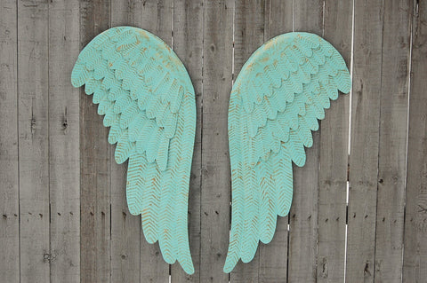Mint green angel wings