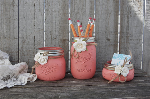 Coral mason jar desk set - The Vintage Artistry