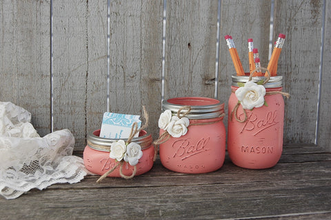 Coral mason jar desk set
