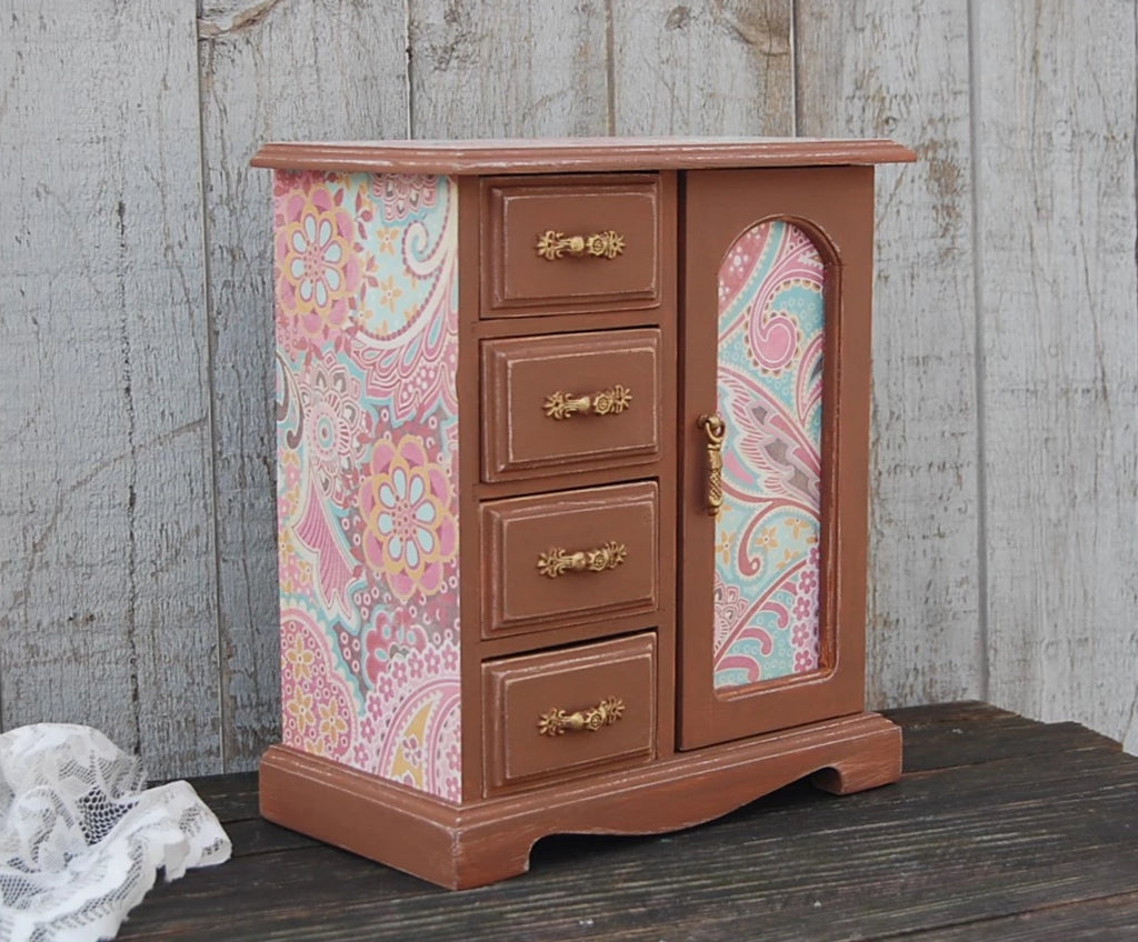 Pink & brown jewelry box