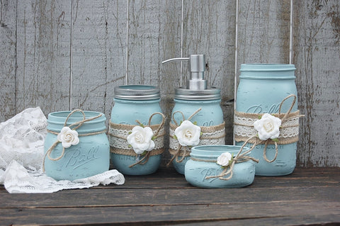 Blue & ivory bathroom set