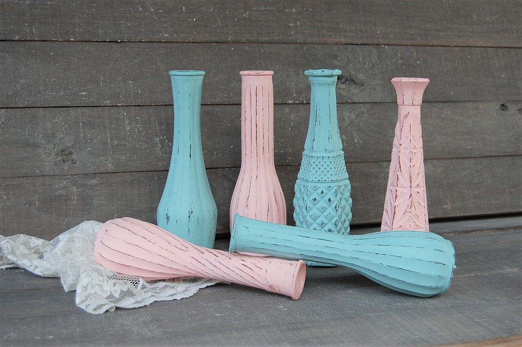 Seafoam & blush vase set