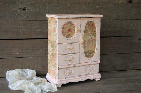 Pink toile jewelry armoire