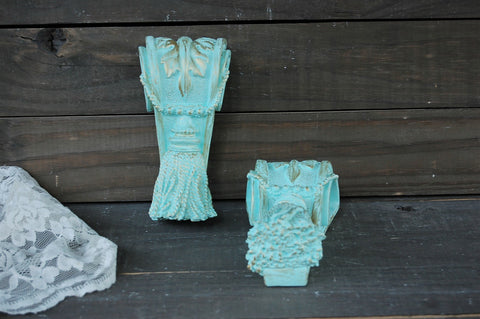Mint & gold drapery sconces - The Vintage Artistry