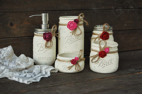 Ivory mason jar bathroom set