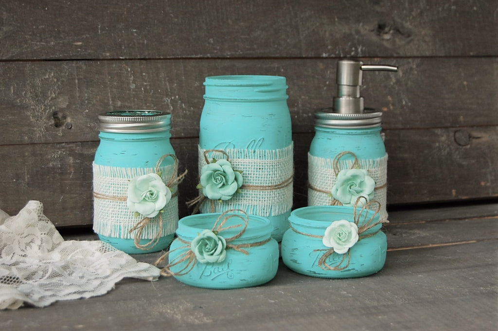 Rustic Aqua Bathroom Set