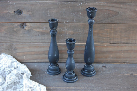 Black candle holders - The Vintage Artistry