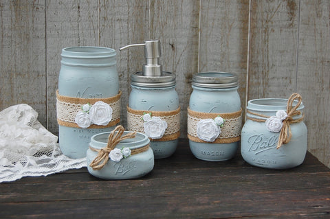Grey mason jar bathroom set - The Vintage Artistry