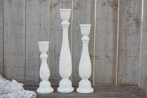 Rustic white candlesticks