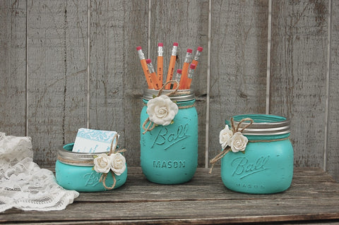 Aqua mason jar desk set - The Vintage Artistry