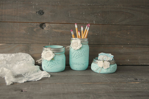 Mint mason jar desk set