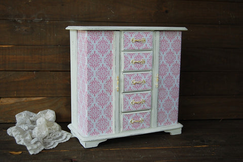 Cottage damask armoire