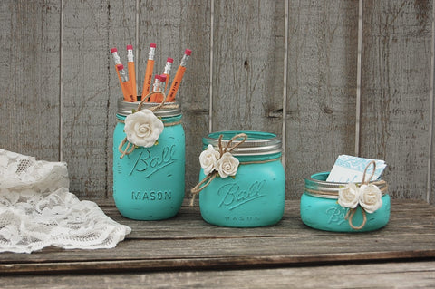 Aqua mason jar desk set