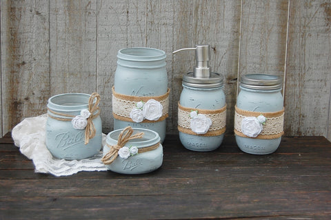 Grey mason jar bathroom set