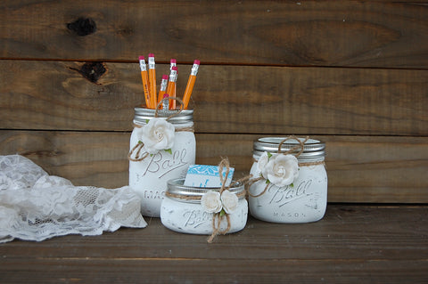 White mason jar desk set